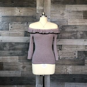 NEW Rebecca Taylor Ribbed Off-The-Shoulder Sweater